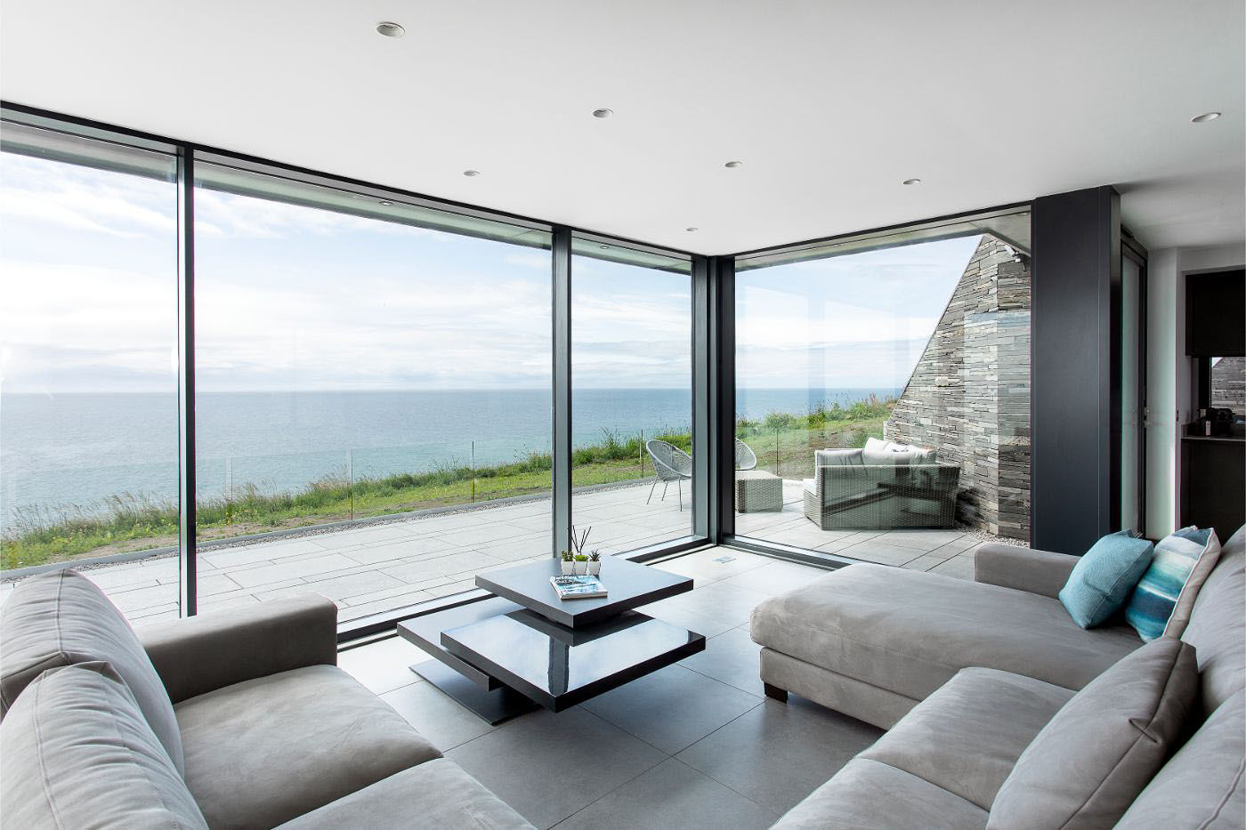 glass wall and terrace over looking the sea